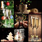 Weihnachten-Collage mit leckeren Speisen, Getränken und Dekorationen — Stockfoto