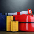 Stock Photo: Diesel and oil canisters on grey background