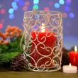 Stock Photo: Candles and Christmas decoration on bright background
