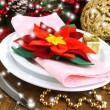 Stock Photo: Christmas table setting with festive decorations close up