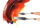 Painting palette knife with paint isolated on white — Foto de Stock