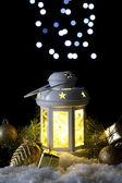 Decorative glowing lantern at night — Foto de Stock