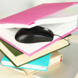 Computer mouse on books and notebook on wooden table on room background — Stock Photo