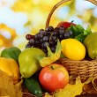 Different fruits and vegetables with yellow leaves in basket on table on bright background — Stock Photo #37287007