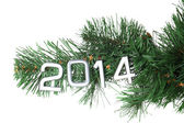 2014 hang on Christmas tree close-up isolated on white — Stock Photo