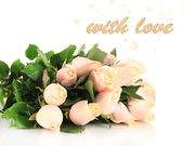 Beautiful bouquet of roses, isolated on white — Stock Photo