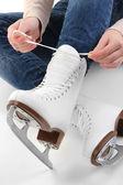 Skater wearing skates isolated on white — Stock Photo