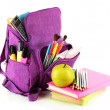 Stock Photo: Purple backpack with school supplies isolated on white