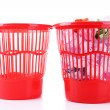 Stock Photo: Full and empty garbage bins, isolated on white