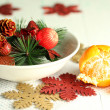 Stock Photo: Place setting for Christmas, on wooden background