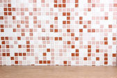 Table and mosaic tiles in kitchen close-up background — Stock Photo