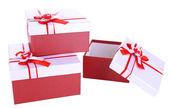 Scatole regalo bellissimo isolati su bianco — Foto Stock