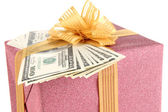 Gift box with money close up — Stock Photo