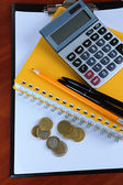 Office supplies and money close up — Foto de Stock