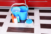 House cleaning with mop — Stockfoto