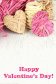 Decorative straw for hand made and hearts of straw, on wooden background — Foto de Stock
