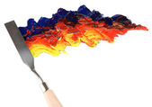 Painting palette knife with paint isolated on white — Stock Photo