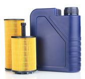 Motor oil canister and filters isolated on white — Stock Photo