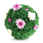 Christmas fir-tree ball decorated with flowers isolated on white — Stock Photo