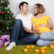 Young pregnant woman with her husband sitting on floor near Christmas tree at home — Stock Photo #37359263