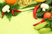 Cooking concept. Groceries on tablecloth background — Стоковое фото