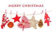Christmas decorations isolated on white — Stock Photo