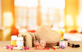 Handmade wooden boxes and art materials for decor, on table — Stock Photo