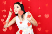 Attractive young woman on Valentine Day — Foto Stock
