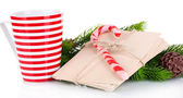 Christmas candy canes, cup with hot drink and letters for Santa, isolated on white — Stockfoto