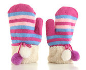 Striped mittens isolated on white — Stock Photo