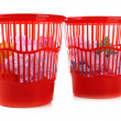 Two red garbage bins, isolated on white — 图库照片 #37361517