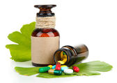 Ginkgo biloba leaves and medicine bottles with pills isolated on white — Stock Photo