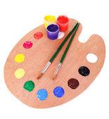 用涂料和刷上白色孤立木艺术调色板 — 图库照片