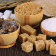 Stock Photo: Different types of sugar on table close-up