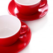 Red cups isolated on white — Stock Photo
