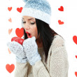 Attractive young woman with heart on Valentine Day — Stockfoto #37475547