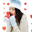 Attractive young woman with heart on Valentine Day — Stock Photo