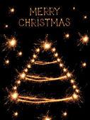 Рождественская елка образный бенгальские огни на черном фоне — Стоковое фото
