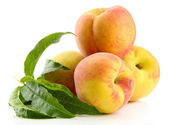 Ripe sweet peaches with leaves, isolated on white — Stock Photo