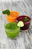 Fresh vegetable juices on table close-up — Stock Photo