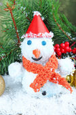 Beautiful snowman and Christmas decor, on bright background — Stock Photo