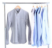 Office male clothes on hangers, isolated on white — Stock fotografie