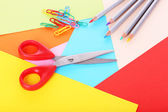 Colorful cardboard and scissors close-up — Stok fotoğraf