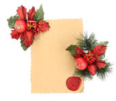 Frame with vintage paper and Christmas decorations isolated on white — Stock Photo