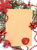 Frame with vintage paper and Christmas decorations close up — Foto Stock