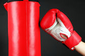 Box training and punching bag, isolated on black — Photo