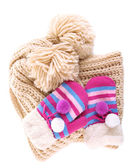 Striped mittens with scarf isolated on white — Stock Photo