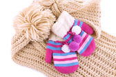 Striped mittens with scarf close up — Stock Photo