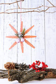Christmas composition with snowflakes on wooden background — Stock Photo