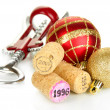 Wine corks with new Year toys isolated on white — Stock Photo #37518179